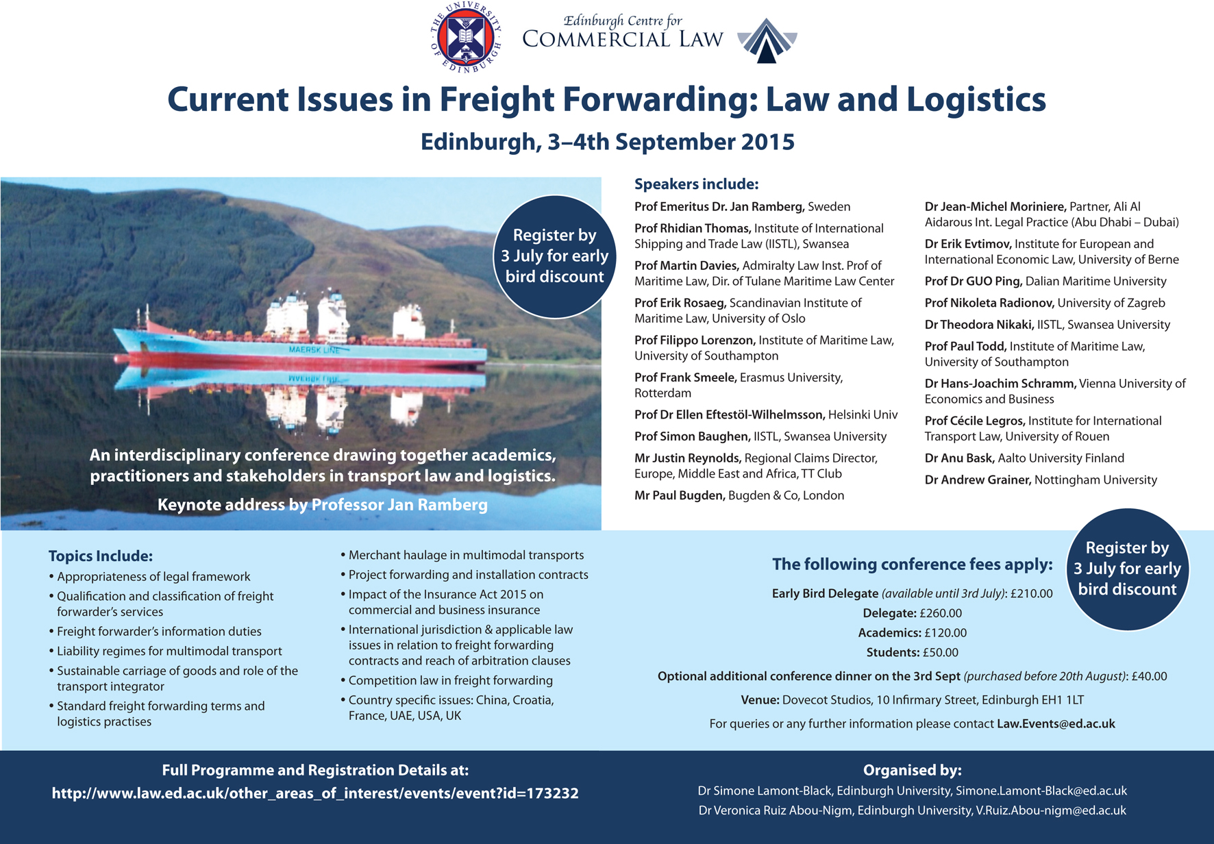 Current Issues in Freight Forwarding: Law and Logistices  Edinburgh 3 - 4 Sept 2015