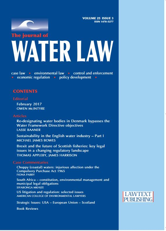 Journal of Water Law Cover